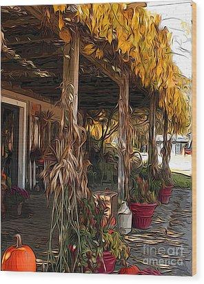 Fall Farmers Market Wood Print by Anne Raczkowski