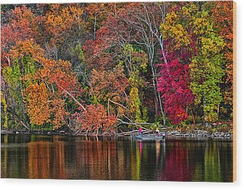 Fall Fishing Wood Print by Boyd Alexander