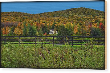 Fall Glory On The Other Side Of The Fence Wood Print by Chantal PhotoPix
