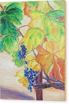 Fall Grapes Wood Print by Barbara Anna Knauf