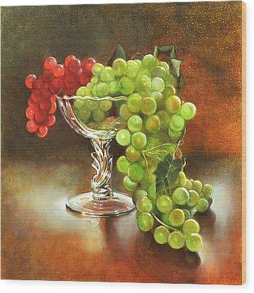 Fall Grapes Wood Print by Cynthia Peterson