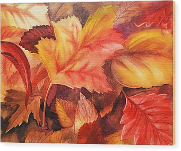 Fall Leaves Wood Print by Irina Sztukowski