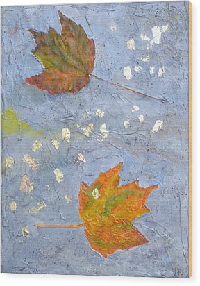 Wood Print featuring the painting Fall Leaves by Robert Decker