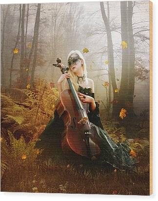 Fall Melody Wood Print by Mary Hood