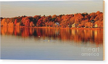 Fall On Horn Pond Wood Print