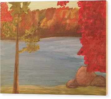 Wood Print featuring the painting Fall On River by Paula Brown