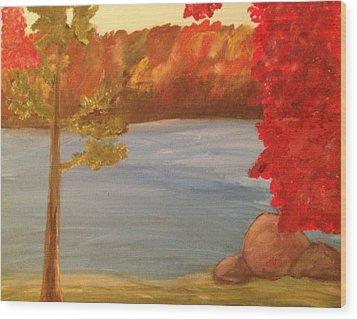 Fall On River Wood Print