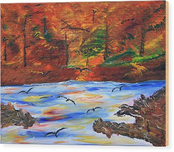 Fall On The Bow River Wood Print by James Bryron Love
