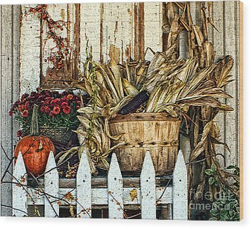 Fall On The Farm Wood Print by Anne Raczkowski