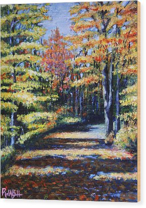 Fall Path Wood Print by Paul Walsh