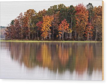 Fall Reflection Wood Print by CWellsPhotography