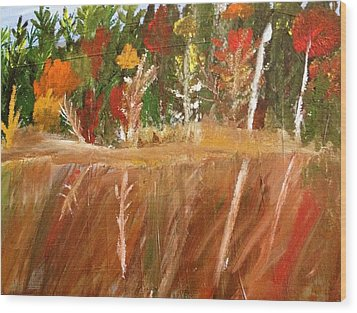 Fall Reflection On Lake Wood Print by Paula Brown