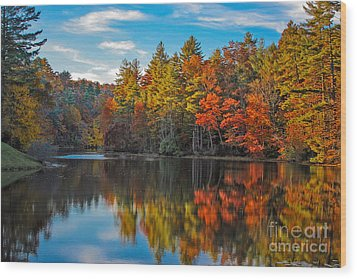 Fall Reflection Wood Print by Ronald Lutz