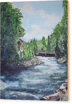 Wood Print featuring the painting Fall River Estes Park by Tom Riggs