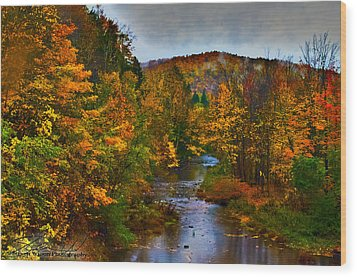Fall River Wood Print