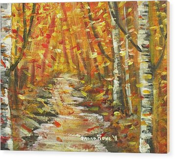 Wood Print featuring the painting Fall by Shana Rowe Jackson