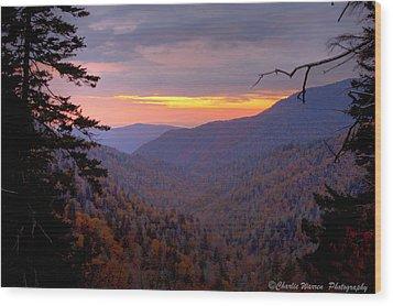 Fall Sunset Wood Print by Charles Warren