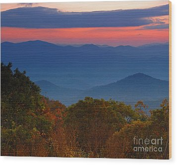 Fall Sunset Sky At Brasstown Bald Georgia Wood Print by Nature Scapes Fine Art