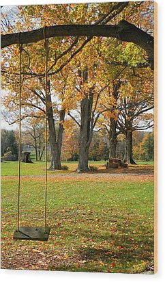 Fall Swing Wood Print by Jennifer Compton