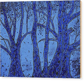 Falling Leaves Blue Wood Print