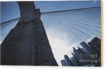 Falling Lines - Brooklyn Bridge Wood Print by Thomas Splietker