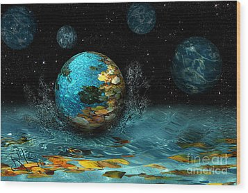Wood Print featuring the digital art Falling Stars by Rosa Cobos