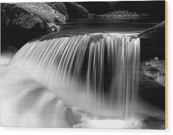 Falling Water Black And White Wood Print by Rich Franco