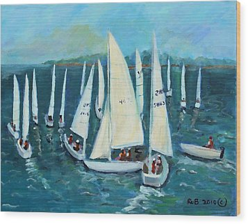 Wood Print featuring the painting Falmouth Regatta by Rita Brown