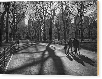 Family At Central Park In New York City Wood Print by Ilker Goksen