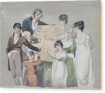 Family Group - Smith, His Wife And Six Wood Print by Everett