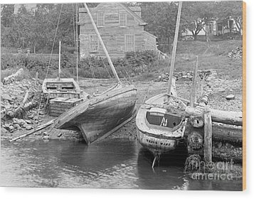 Family Wharf At Kittery Point In Maine 1900 Wood Print by Padre Art