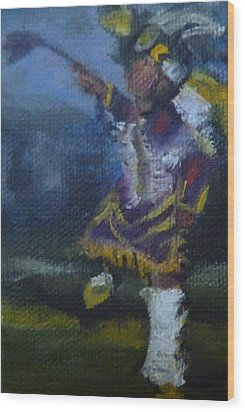 Wood Print featuring the painting Fancy Dancer Long Beach Pow Wow by Jessmyne Stephenson