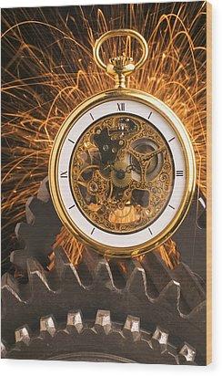 Fancy Pocketwatch On Gears Wood Print by Garry Gay