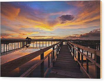 Fantastic Sky On Wood Bridge Wood Print by Arthit Somsakul