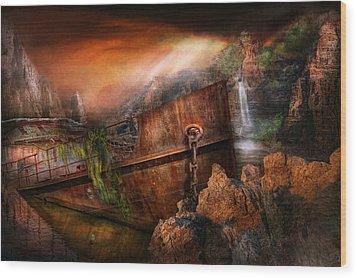 Fantasy - Ship Wrecked Wood Print by Mike Savad