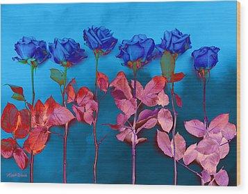 Fantasy Blues Wood Print by Michelle Wiarda