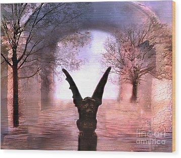 Fantasy Surreal Gothic Gargoyle  Wood Print