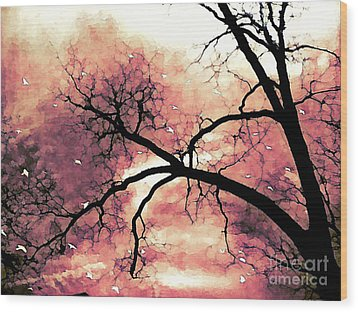 Fantasy Surreal Gothic Orange Black Tree Limbs  Wood Print by Kathy Fornal