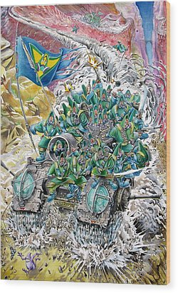 Fantasy Tank Running Wild Wood Print by Fabrizio Cassetta