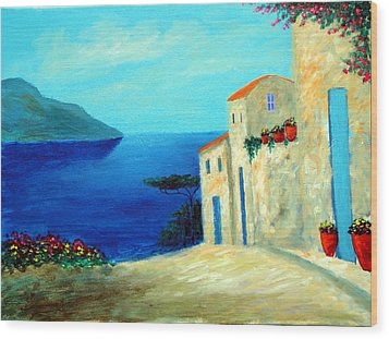 Wood Print featuring the painting Fantisy By The Sea by Larry Cirigliano
