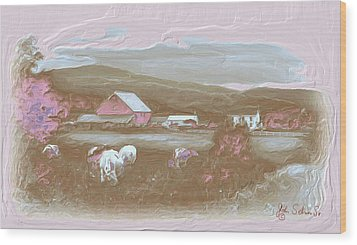 Farm   In Pink Wood Print