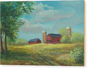 Red Barns Wood Print