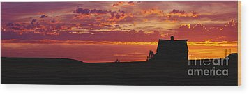Farm Sunset Wood Print by Joe Sohm and ChromoSohm and Photo Researchers