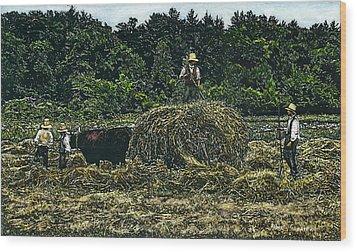 Farmers Haying Wood Print by Robert Goudreau
