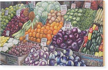 Farmers Market Wood Print by Nancy Pahl