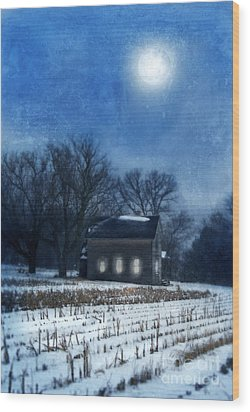 Farmhouse Under Full Moon In Winter Wood Print by Jill Battaglia