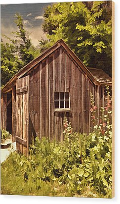 Farming Shed Wood Print by Lourry Legarde