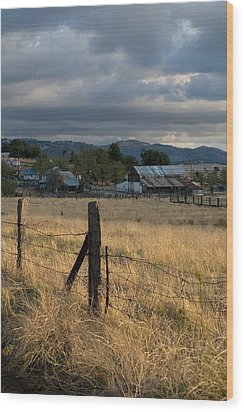 Farmland Fence Post Wood Print by Peter Tellone