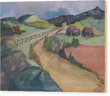 Farmland Road Wood Print by Barbara McGeachen