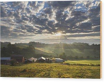Farmlands Of Appalachia Wood Print by Debra and Dave Vanderlaan